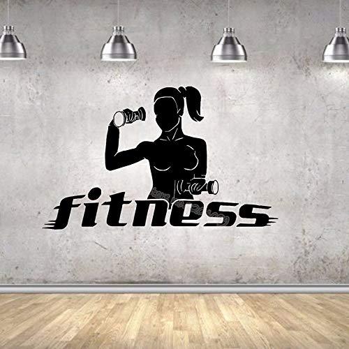 guijiumai Frau hantel übung wandaufkleber Fitness Yoga pumpe Aerobic mädchen Sport Gym Decor Vinyl Aufkleber Fitness Studio Poster 94x56 cm