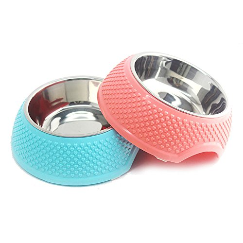 VICTORY,1/2 Pcs 5.3 inch Diner Pet Bowl Cat Dog Premium Stainless Steel+Natural Resin Pet Bowl Rust Proof Unique Design 5.1 inch,Pink,Green,Blue with Non-Skid Natural Rubber