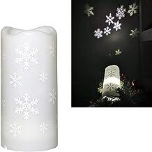 "OSALADI Christmas Snowflake Projector Light ، Snowflake Candle Light with Snowflake Projecs""، مصابيح الشموع تعمل بالبطارية..."