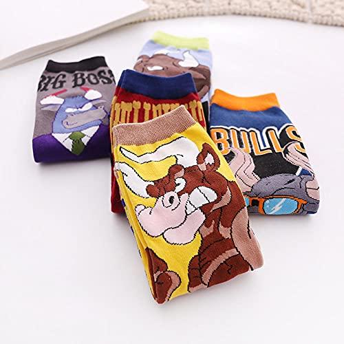 MIWNXM 10 Pares Animal Print Cow Cartoon Funny CozyKawaii Woman Harajuku Korean Style Cute Soft Girl Happy Sock