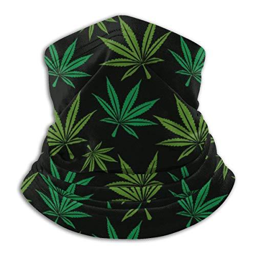 Calentador de Cuello Estampado de Hojas de Marihuana Calentador de Cuello Pasamontañas a Prueba de Viento Capucha de vellón Sombreros de Invierno UV Gratis