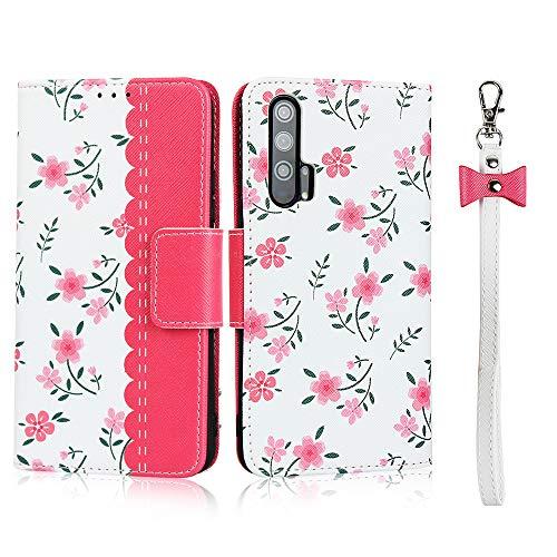 Coque pour Huawei Honor 20 Pro,Cuir Premium Fleur Flip Portefeuille, Fentes de Carte, Stand Fonction, Magnétique Flip PU+TPU Case Cover Etui avec Corde - Rouge