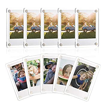 ONE WALL Acrylic Fridge Magnetic Frame Double Sided Photo Refrigerator Magnet Picture Frame for Fujifilm Instax Mini 2.36 x 3.54 Inch Pack of 10