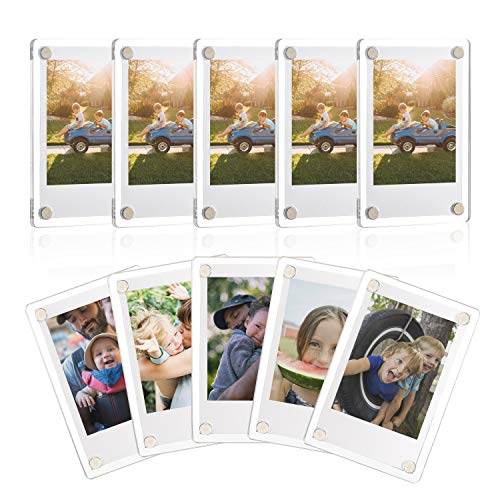 ONE WALL Acrylic Fridge Magnetic Frame, Double Sided Photo Refrigerator Magnet Picture Frame for Fujifilm Instax Mini, 2.36 x 3.54 Inch, Pack of 10