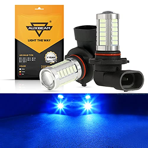 Auxbeam 9005 9006 H10 LED Fog Light Bulbs High Power 50W 3030 SMD Extremely Bright Bulb for Signal, Turn, Parking, Tail lights - Ice Blue 10000K (Set of 2)