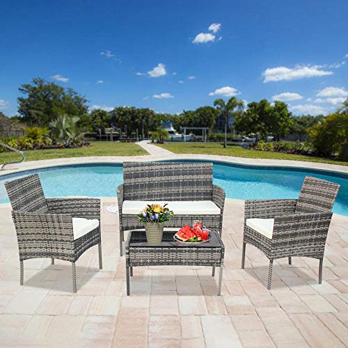 TATUNER Outdoor Living Room Balcony Rattan Furniture Four-Piece-Gray