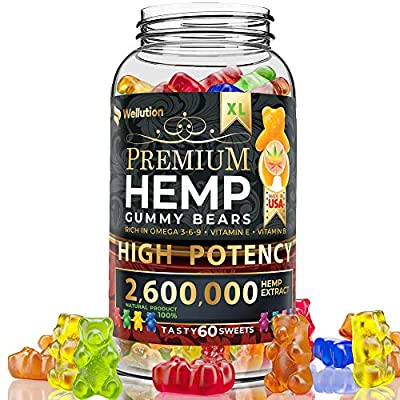 Hemp gummies premium2,600,000 High Potency - fruity gummy bear with hemp oil - natural hemp candy supplements for pain, anxiety, stress & inflammation relief - promotes sleep and calm mood by WELLUTION
