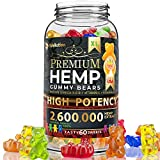 Hemp gummies premium2,600,000 High Potency - fruity gummy bear with hemp oil - natural hemp candy supplements for pain, anxiety, stress & inflammation relief - promotes sleep and calm mood