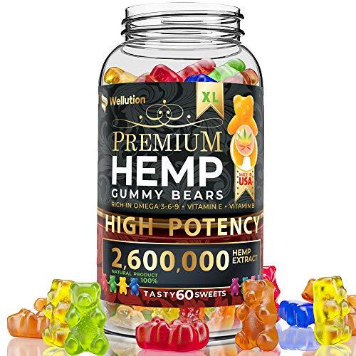 Hemp Gummies Premium 26,000 mg High Potency - Fruity Gummy Bear with Hemp Oil | Natural Hemp Candy Supplements for Pain, Anxiety, Stress & Inflammation Relief | Promotes Sleep & Calm Mood