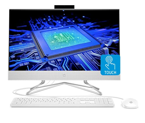 "HP 2021 Newest All-in-One Desktop Computer, 23.8"" Full HD Touchscreen, 11th Generation Intel Core i7-1165G7 Processor, Intel Iris Xe Graphics, 16GB RAM, 512GB PCIe SSD, Webcam, Windows 10 Home, Silver"
