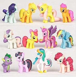 SKEIDO 12PCS/SET PVC Cute Horse Action figures Toy doll Earth Ponies Unicorn Pegasus Alicorn Bat Ponies figure 3-5cm Each ...
