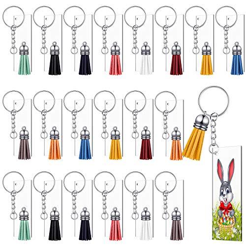 Acryl Schlüsselbund Leer, 80 Stücke Klares Schlüsselanhänger Set für Vinyl Kit mit 20 Rechteckigen Acryl Rohlingen, 20 Schlüsselbund Quasten, 20 Schlüsselanhänger Ringen und 26 Biegeringen (7 x 3 cm)