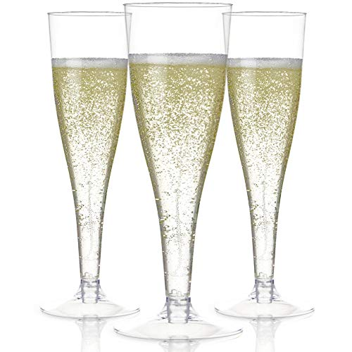 100 Plastic Champagne Flutes Disposable | Clear Plastic Champagne Glasses for Parties | Clear Plastic Cups | Plastic Toasting Glasses | Mimosa Glasses | Wedding Party Bulk Pack