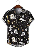 LookMark Men's Poly Cotton Lining Digital Printed Stitched Half Sleeve Shirt(Printed Shirt Devil_Black_M)