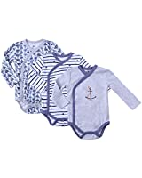 Infant Clothes Baby Kimono Side Snap Onesie Boy Long Sleeve Bodysuit 0-3 Months Heather Gray