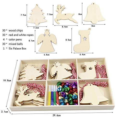 LFTYV 10 Pieces Christmas Wooden Ornaments Round Wood Slices Snowflake Angel Star Shape Christmas Tree Hanging Embellishments, Christmas Hanging Decoration in 5 Shapes,a