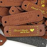 120pcs Etiquetas Cuero PU Handmade with Love Hecho a Mano con Amor con Agujeros para Costu...