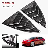 Parche de persianas de ventana de ajuste trasero de coche para Tesla Model 3 2017-2019, espejo de ventana de triángulo trasero modificado decorado 2pcs / Set (CF/Patrón de fibra de carbono)