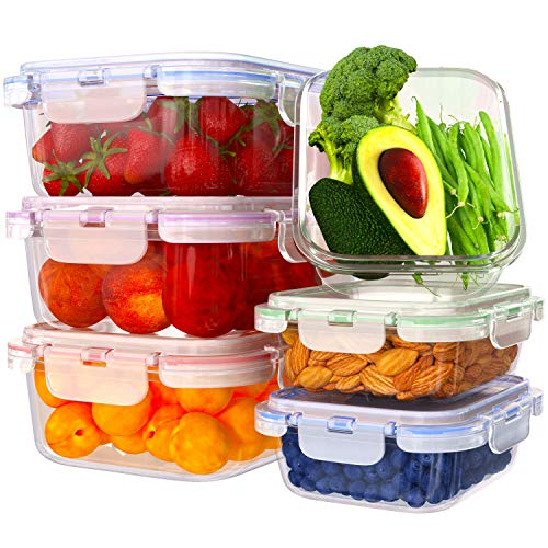 Glass Food Storage Containers with Lids  6 Pack 2 Sizes 35 Oz 12 Oz  Meal Prep Lunch Boxes  Microwave Fridge Freezer Dishwasher Oven Safe  BPAfree  Easy Snap Airtight and LeakProof Lids