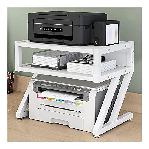 Soporte para ImpresoraOrganizador Soporte de impresora de escritorio, impresora multifunción de escritorio Escáner de copiadora Estantería de estante, soporte de fax con marco de metal 2 niveles Sopor