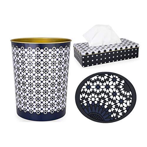 Images dOrient Garbage Bin, Tissue Box (Kaokab) and Soap Dish (Mosaic) Bundle (3 Items)