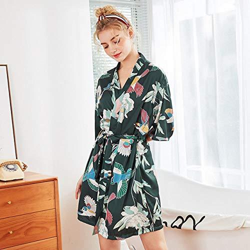 YRTHOR Albornoz de satén Kimono de Seda para Mujer, Bata de baño con Estampado de Dama de Honor hasta la Rodilla, Bata de Novia Rojo Verde para Boda, Ropa de Dormir,Deep Green,M
