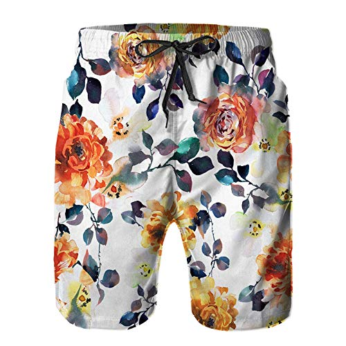 Men's Quick Dry Beach Shorts chuseok hangawi Greeting Card Cute Cartoon Summer Breathable Casual Surfing,Board Swim Trunks with Pocket,M