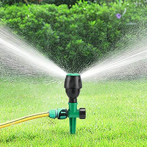 Buluri Kreisregner mit Erdspieß, Automatischer 360°Drehbarer Rasenregner Garten Wasser System mit 4-7m Wurfweite, Rasensprenger Sprühregner für Garten Rasen Bewässerung