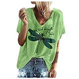YANFANG Camiseta de Manga Corta con Cuello en V Suelta de Moda para Mujer Tops Estampados,Camisa Suelta Mujer Casual Verano Invierno Primavera Shirts Camisa Mujer Elegante Camisa, Verde,L