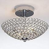 2 Leuchten Kristall Deckenleuchte, Modern halb Erröten-Einfassung Anhänger Beleuchtung for Kücheninsel Esszimmer Foyer Flur Entryway Wohnwandschrank, E12 / E14 - Chrom