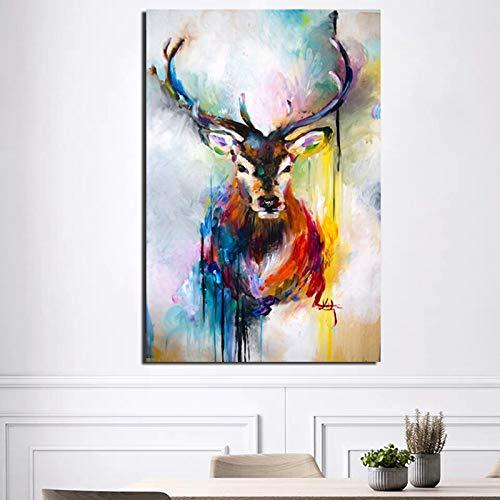 KWzEQ Buntes Tierdruckhirschleinwand-Wohnzimmerdekorationsmodernwandkunst-Ölgemäldeplakat,Rahmenlose Malerei,80x120cm