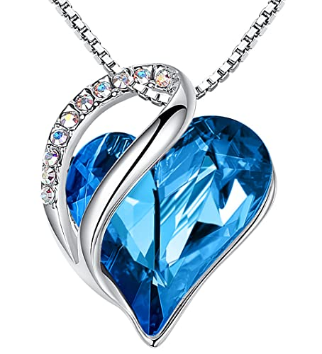 """Leafael Infinity Love Heart Pendant Necklace with Bermuda Blue Birthstone Crystal for Semptember, Jewelry Gifts for Women, Silver-tone, 18""""+2"""""""