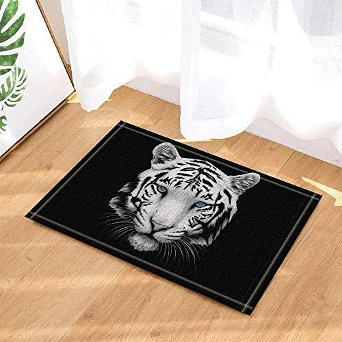 gwregdfbcv Acuarela Negra Rayas Blanco Feroz Tigre Cabeza Fondo Negro
