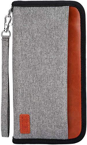 Passaporto Portafoglio da Viaggio, Protezione RFID Impermeabile Porta Passaporto Carte di Credito Documenti Custodia Porta Passaporti Famiglia Organizer per Uomini e Donne Carte di credito, Biglietti