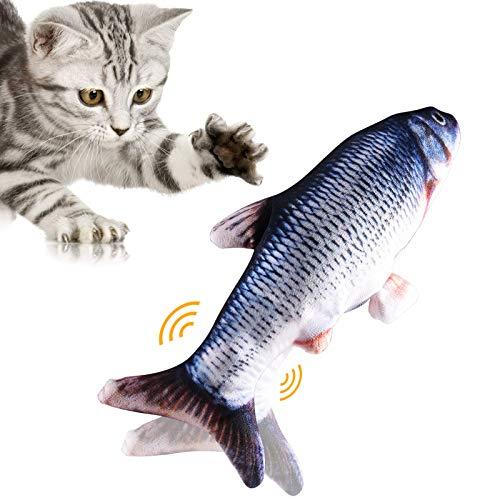 UIHOL Simulation Elektrischer Puppenfisch Realistischer Plüsch Wagging Fisch Katze Interaktives Spielzeug Katzenminze Spielzeug USB-Aufladung Haustiere Kauen Bisszubehör (#1)