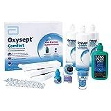 AMO Oxysept Comfort 90 días Premium Pack – Sistema de peróxido para una limpieza suave de lentes de contacto blandas – Solución desinfectante, pastillas de neutralización, solución salina, etc.