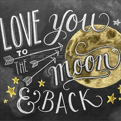 Full Diamond Painting Kits Art - PigBoss 5D Diamond Embroidery Cross Stitch Kits - Love You to The Moon Back Diamond Painting Decor Gift for Adults (11.8 x 11.8 inches)