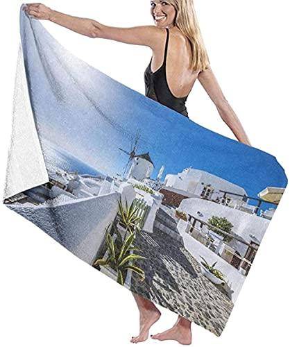 Toalla de Playa Imágenes del Antiguo Pueblo y el mar Egeo.La Toalla de baño Grande es Ligera y Muy Adecuada para Salidas Familiares.Natación y Fitness.Los 80 × 130cm