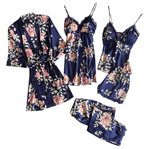 5PC Nachthemd Set für Damen Satin Schlafanzug Spitze Lace Bademantel Shorts Rock Hosen Top V-Ausschnitt Sexy Schlafrock Weich Spitze Nachtwäsche Dessous Bademantel Pyjama Damen
