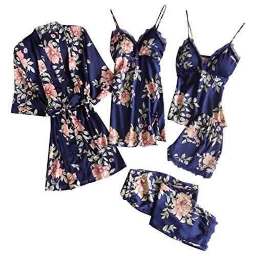 Conjunto de pijama para mujer, con diseño de flores, con tirantes,...