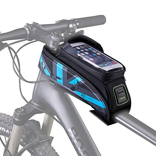 HSNMEY Rahmentasche wasserdicht Oberrohrtasche Touchscreen mit Schirm für 5,8/6 Zoll Handy Fahrrad MTB, Blau 5,8 Zoll