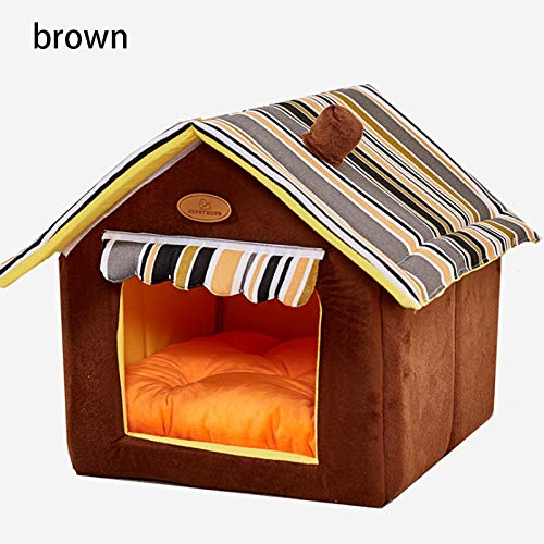 ZFFLYH Pet House Kennel, huisdier hond kat bed zachte pluche mat, draagbare opvouwbare vintage stijl House