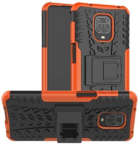 Redmi Note 9S / Note 9 Pro ケース 耐衝撃 滑り落ちにくい 落下防止 一体型 PC & TPU素材 二層保護電話ケースカバー Redmi Note 9 Pro Max (オレンジ)