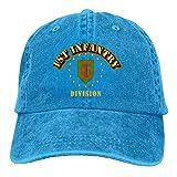 AINCIY Endool 1st Infantry Division Hombre Algodón Ajustable Sarga Lavable Gorra De Béisbol Sombrero