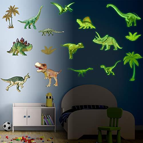 12 Stück Leuchten im Dunkeln Dinosaurier Wandtattoos Dinosaurier Leuchten Wandaufkleber und 4 Stück Kokosnuss Bäume Aufkleber für Kinderzimmer Schlafzimmer Wohnzimmer Decoration