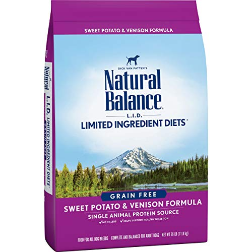 Natural Balance L.I.D. Limited Ingredient Diets Dry Dog Food, Sweet Potato & Venison Formula, 26 Pounds, Grain Free