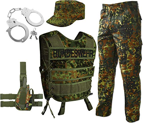 normani Bundeswehr Kostüm für Damen und Herren - Unisex [S-3XL] - bestehend aus Weste mit Patch, BDU Hose, Ripstop Cap, Handschellen (rechts oder Links wählbar) Army, Flecktarn Größe M/Rechts