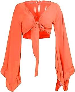 UUYUK Women Bell Sleeves Sexy Blouse Solid Tie Crop Chiffon