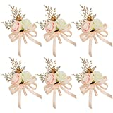 HiiARug Ivory Light Peach Rose Boutonniere for Men Wedding Set of 6 Groom Groomsmen Flower Boutonnieres Ribbon Gold Berry for Wedding Party Prom Man Suit Decoration (Boutonnieres Light Peach 6PCS)