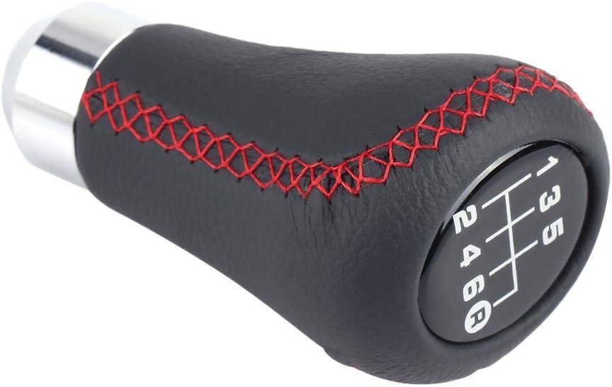 Red Qiilu Gear Shift Lever Knob Stick Head Universal Car Vehicle 6 Speed Gear Shift Knob PU Shifter Stick with 3 Hoses